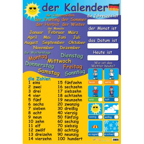 german calendar  u0026 numbers learning chart